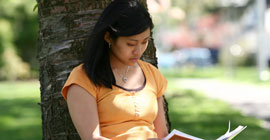 Image of female student studying