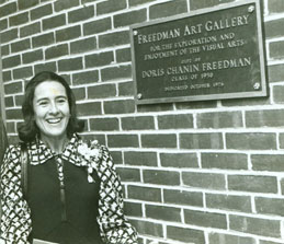 Doris Chanin Freedman with Freedman Art Gallery plaque