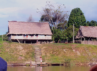 Building from a small village on the edge of the river