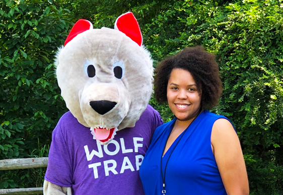 Whitney Jefferson with Wolf Trap mascot