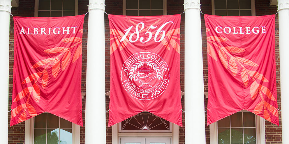 Albright College banners with seal