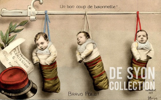 DeSyon collection WW I postcard - babies in stockings