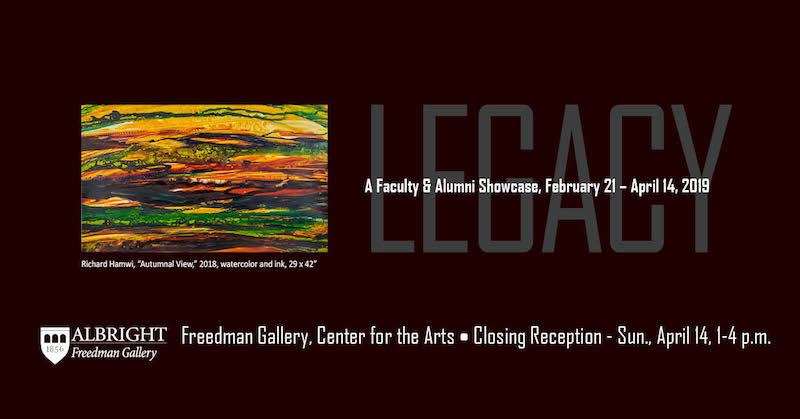 An event poster for Legacy: A Faculty and alumni showcase in March 2019