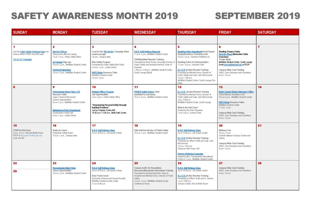 Calendar for safety awareness month 2019 September 2019