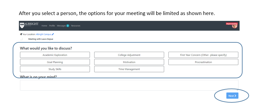 "Lion's Edge ""Meeting Options"" Field."