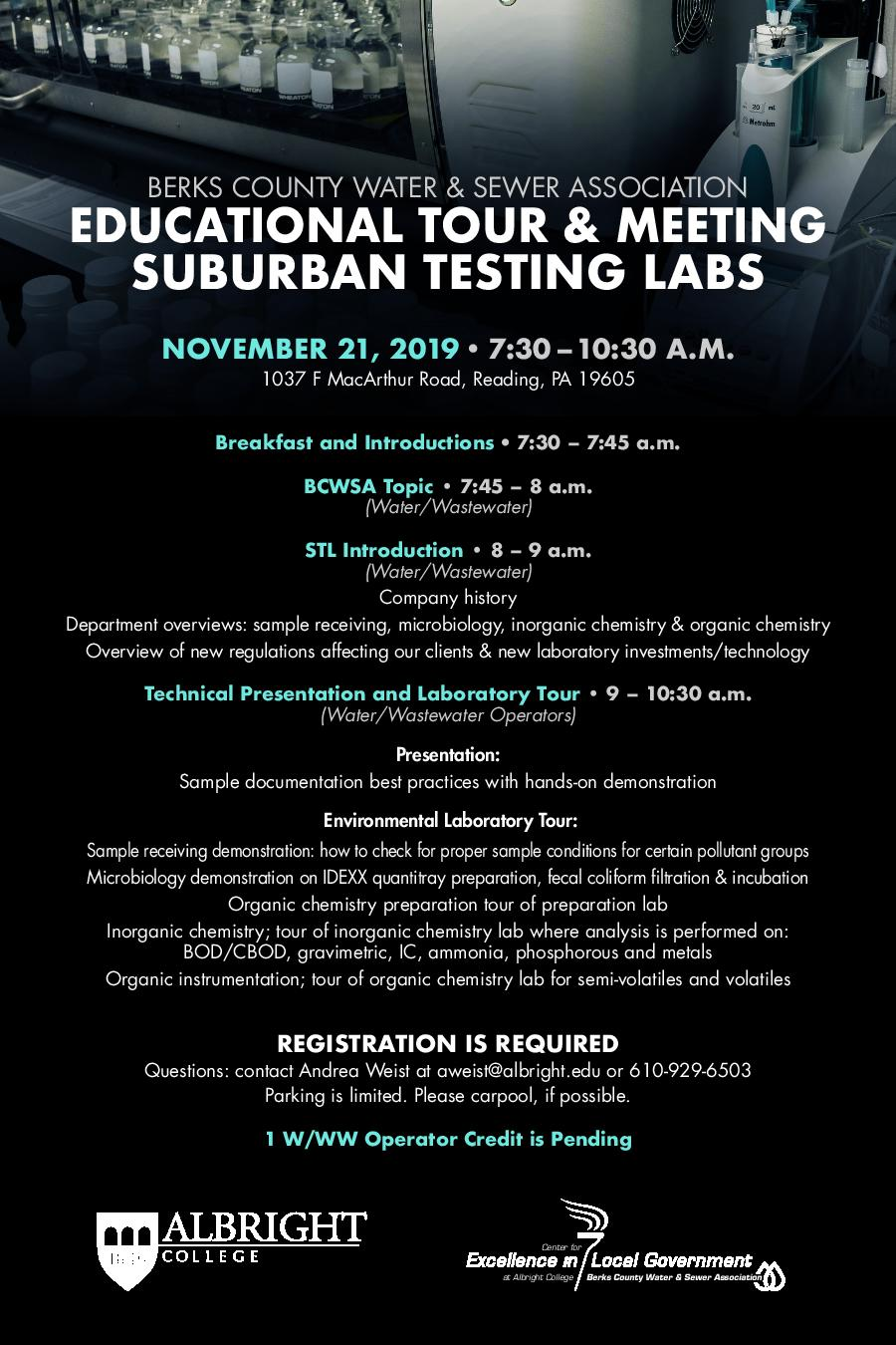 Educational Tour and Meeting Suburban Testing Lab