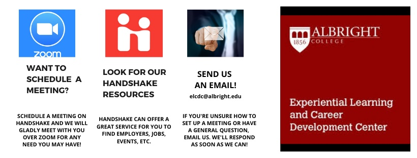 Information on scheduling a meeting: use Handshake or email us at elcdc@albright.edu
