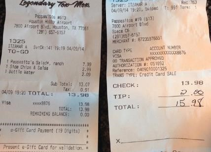 Example of an itemized receipt