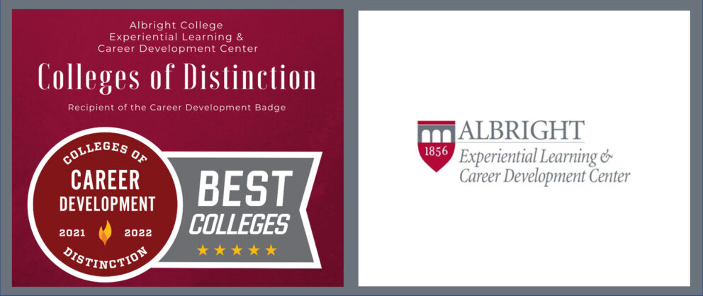 Albright College Experiential Learning & Career Development Center Colleges of Distinction. Recipient of the Career Development Badge. Circle with Colleges of Distinction Career Development 2021 2022 Best colleges ribbon with 5 yellow stars