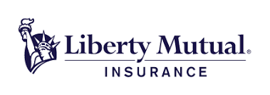 Liberty Mutual Insurance. Statue of Liberty outline peeking out from behind the 'L' in Liberty. The words 'Liberty Mutual' are above a horizontal line and the word 'Insurance' is below the line.