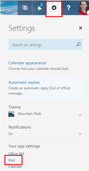 Office 365 settings menu