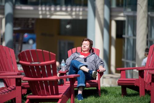 An alumni resting in the sun