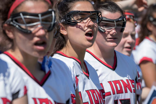 Albright womens lacrosse team standing in line