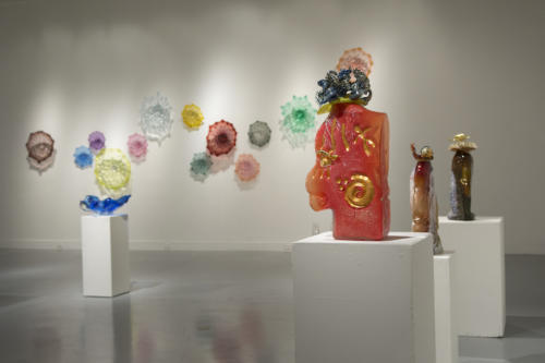 Glass pieces on display in the gallery
